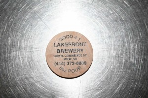 Lakefront Brewing Company tour coin that allows you to get one of your four allotted eight ounce beers while on the tour.