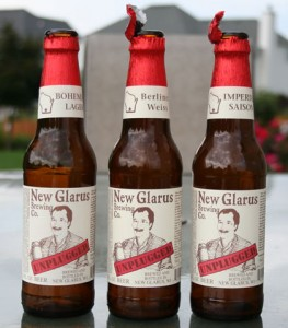 New Glarus Brewing Co. unplugged trio of beers: Berliner Weiss, Bohemian Lager, and Imperial Saison
