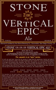 stone brewing vertical epic '08 label
