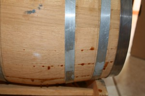 double bogey leaking from the used whiskey barrel