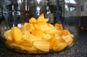 sliced mangos ready for mango saison