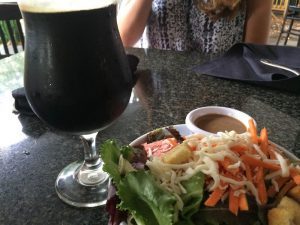 Prairie Birthday Bomb, on tap, along with my salad.  Bomb was $6.75 for 10 ounces, but it was happy hour: $5.75.