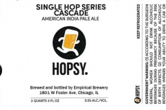 Empirical Brewery - Hopsy. Single Hop Series Cascade American India Pale Ale