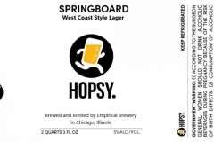 Empirical Brewery - Hopsy. Springboard West Coast Style Lager