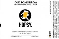 Empirical Brewery - Hopsy. Old Tomorrow International Dark Lager