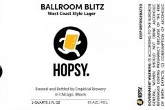 Empirical Brewery - Hopsy. Ballroom Blitz West Coast Style Lager