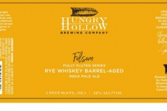 Hungry Hollow Brewing Company - Folsom Fully Fluted Series Rye Whiskey Barrel-aged India Pale Ale