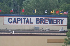 Capital Brewery painted sign on top of the building.  Had to pull off on the side of the highway to get this shot.