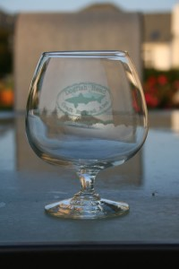 Dogfish Head snifter glass that Ed gave to me.  A pure enjoyment for tasting good American craft beer.