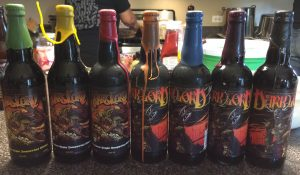 Dark Lord lineup for the vertical: 2010, 2011, 2012, 2013, 2014, 2015, and 2016.  Yes, that is my wife in the background with a Dark Lord shirt on.